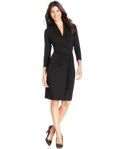 Karen Kane Black Stretch Jersey Cascade Wrap Dress KK-L13915 - $108 - CLASSIC!!