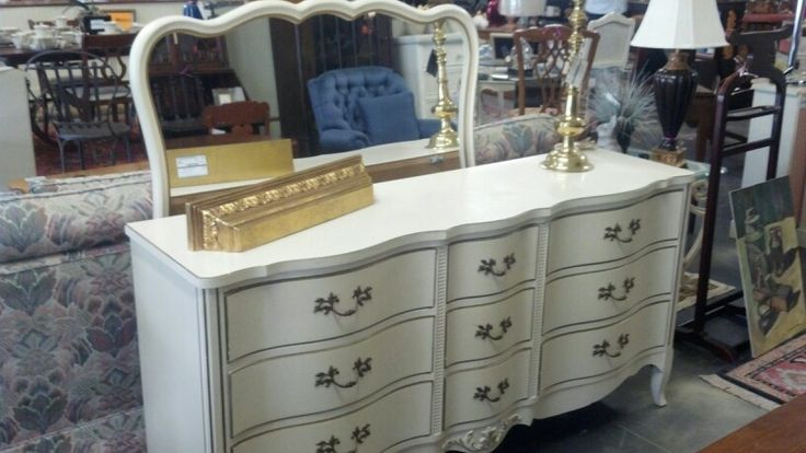 White Antique Dresser vintage white dresser with mirror | lowcountry consignments new