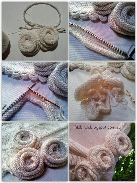 FitzBirch Crafts: Tutorial for knitted roses for a Summer Rose Capelet