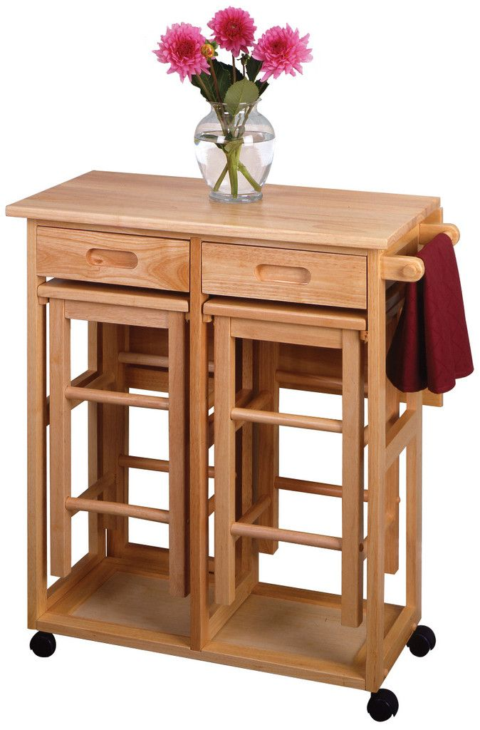 Furniture - Space Saver, Drop Leaf Table with 2 Square Stools – Oxeme Home
