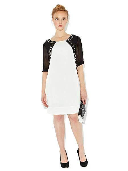 Jewelled front monochrome dress