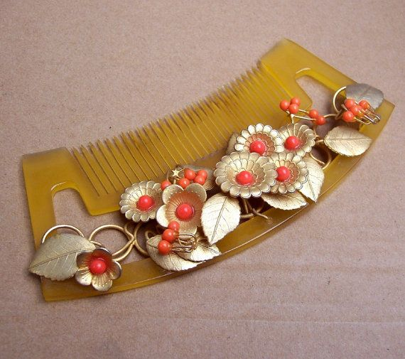 Vintage Japanese Hair Comb Kanzashi Geisha Gold By
