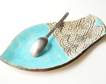 Resto de cuchara grande, cuchara turquesa soporte, plato, eclisa, plato aperitivo, plato de cerámica, bandeja de la porción, cerámica y alfarería