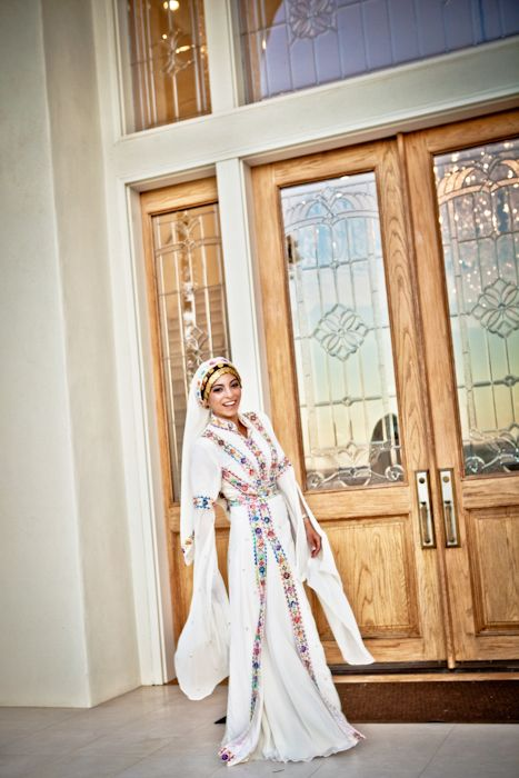 traditional palestinian wedding dress with a few modern touches. i love it.