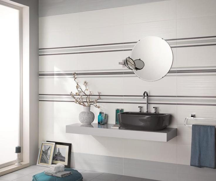 White Tile (Pearl) Dress up 25x75 bathrooms wall tiles rivestimento a strisce orizzontali