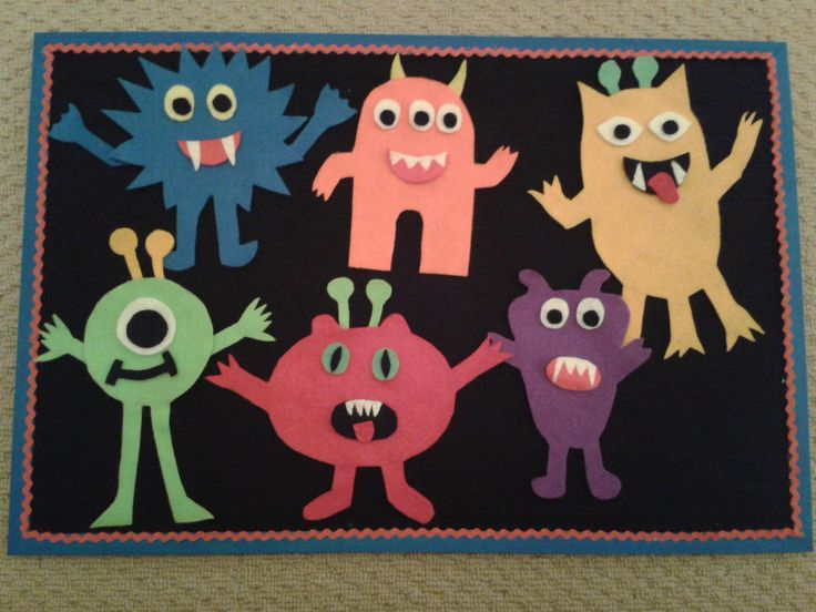 Monster fuzzy felt board for my son's birthday - monster pieces & a monster size of 2' wide.