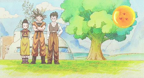 Chi Chi, Son Goku, Son Gohan and Son Goten + extended family Videl and Hercule.