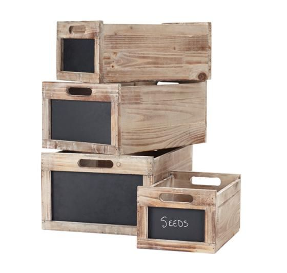 Organize your office, pantry or cleaning supplies with these rustic product crates. Plus, remind yourself of the contents with a handy chalkboard message on the front!