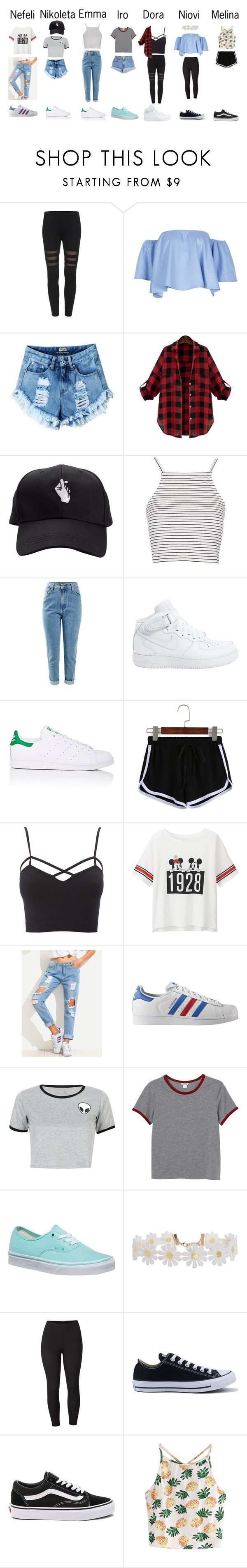 """""""Untitled #41"""" by lemonitadr on Polyvore featuring Topshop, Levi's, NIKE, adidas, Charlotte Russe, Uniqlo, adidas Originals, WithChic, Monki and Vans"""