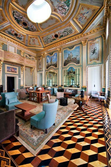 The Palace became a National Monument in 1910 and was purchased from Moagens Harmonia by the State in 1986 to be turned into a vocational training center. — at Pousada Porto Hotel Palacio do Freixo. - a work of art ceiling