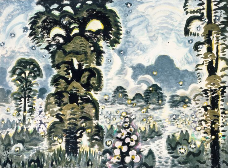 Charles E. Burchfield (1893-1967), Fireflies and Lightning, 1964-65; watercolor, graphite and white charcoal, Overall: 40 x 54 in. (101.6 x 137.2 cm).
