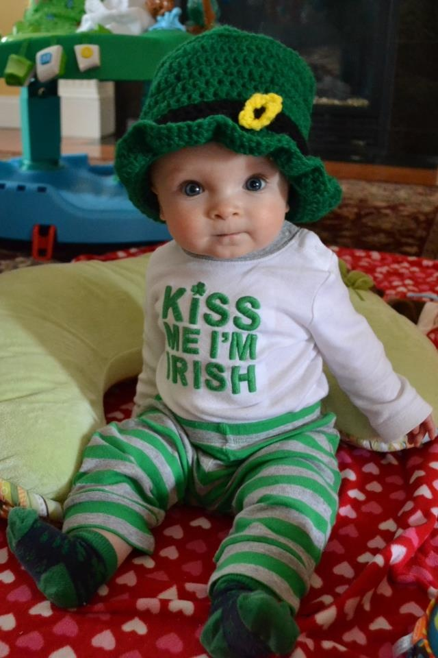 Carter modeling his leprechaun hat. I bet he is the most adorable leprechaun you have ever seen : )