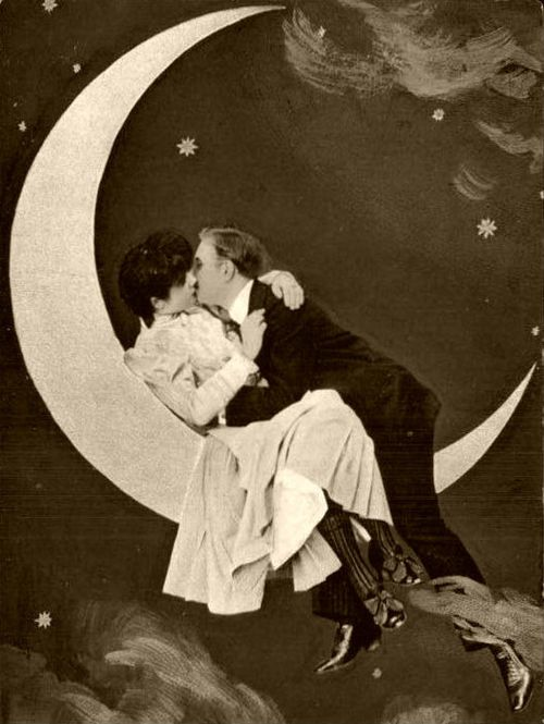 "It's only a paper moon.... Often a fixture at fairs, parties and carnivals, people sat in the crescent of a smiling ""paper moon,"" as if lifted to the stars. A photographic phenomena primarily of the early half of the 20th century, it captivated the imagination of a world pre-Photoshop and gave many a memorable image of great times."