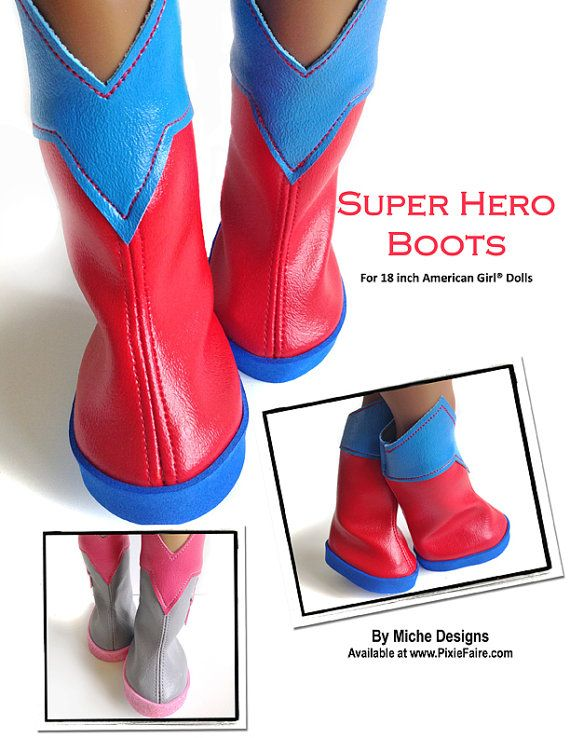 Pixie Faire Miche Designs Superhero Boots Doll Shoe Pattern for 18 inch American Girl Dolls - PDF