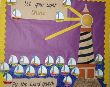 Let your light shine - it looks like the light of the lighthouse is one of those push-lights that you stick in closets and covered with yellow tissue paper!  Cool!