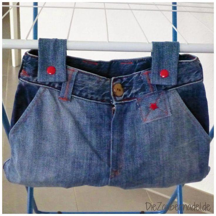 Kinderjeans wird Klammerbeutel / Kids' jeans becomes peg bag / Upcycling