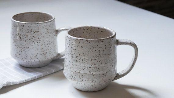 Wit gespikkelde mokken; Koffiemok; Keramische koffie mok; Handgemaakte mok
