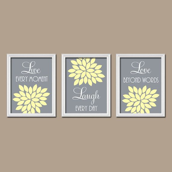 Yellow Gray WALL Art, Yellow Gray Bedroom Live Laugh Love Yellow Gray  Nursery Bedroom Pictures, CANVAS Or Prints, Flower Burst Set Of 3