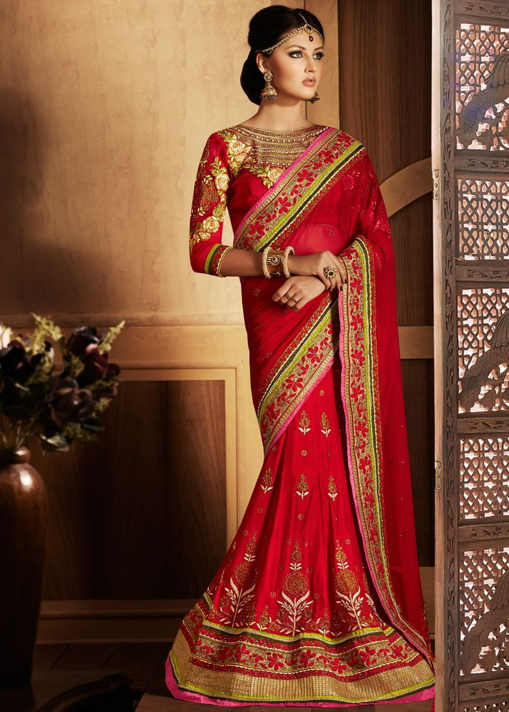Red Net and Georgette Lehenga Style Saree With Blouse Online shopping : 388SR20