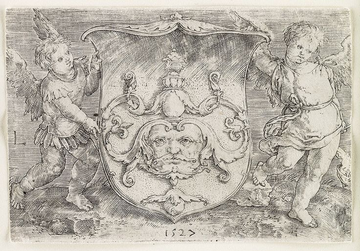 Coat-of-arms with a Mask Held by Two Genii (1527)