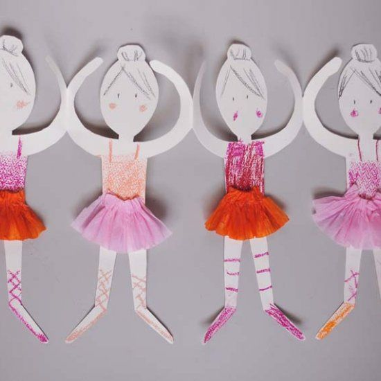 Get a template to make these cute and easy ballerina paper paper doll chains