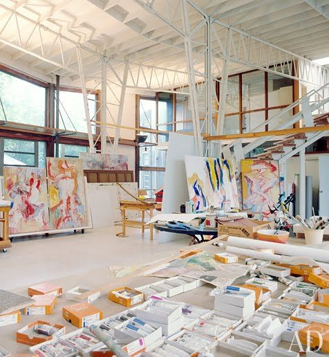 Willem de Kooning's Studio  - i want this lighted space,huge canvases and endless boxes of paint...i wouldn't come out all day!!
