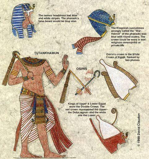 Resultado de imagen de vestimenta de faraon egipcio