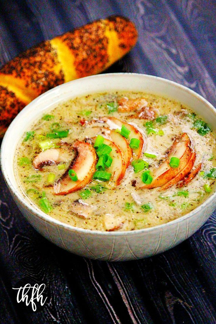 Gluten-Free Vegan Creamy Mushroom Soup...a one-pot meal ready in less than 30 minutes and is vegan, gluten-free, dairy-free, nut-free, lectin-free and paleo-friendly | The Healthy Family and Home #lectinfree