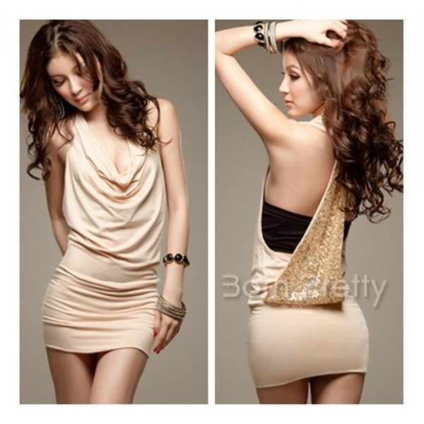 $14.90 Fashionable Backless Dress Sequins Design Dress Sexy Cherrykeke - BornPrettyStore.com