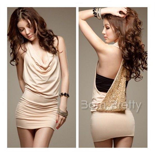 $14.90 Fashionable Backless Dress Sequins Design Dress Sexy Cherrykeke - BornPrettyStore.com