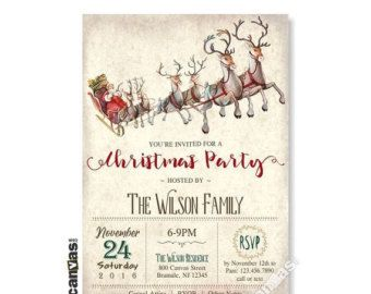 SALE Christmas Party Invitation Holiday Invitation от 800Canvas