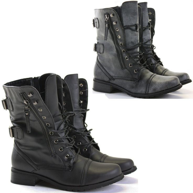 Womens Combat Style Army Worker Military Ankle Boots Flat Punk Goth Shoes Size #POPShoes #CombatBoots