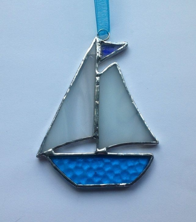Stained glass boat | Handmade Stained Glass Sail Boat (small) - Folksy