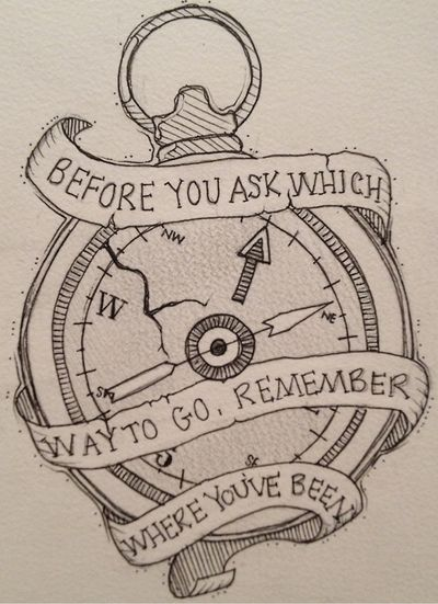 "Compass tattoo design- A nice base design for something better. I might put this quote into the ribbon, ""Not all those who wander are lost."" Unless, of course, I find something better."