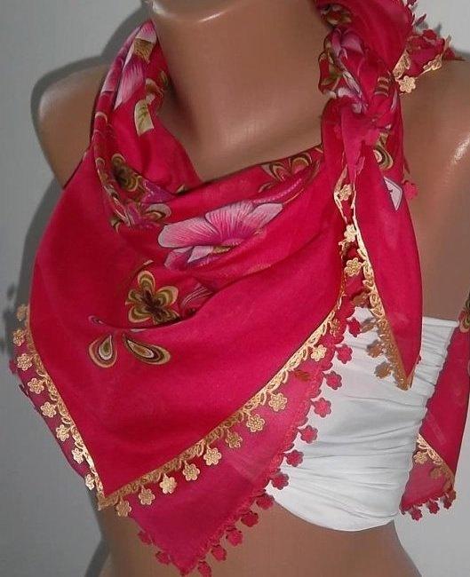 Feminine Scarf  Elegant Scarf  Very Soft cotton fabric by womann, $13.50