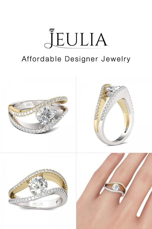 jeulia jeulia 2 tone curved engagement ring under 100 round cut create discover - Wedding Rings Under 100