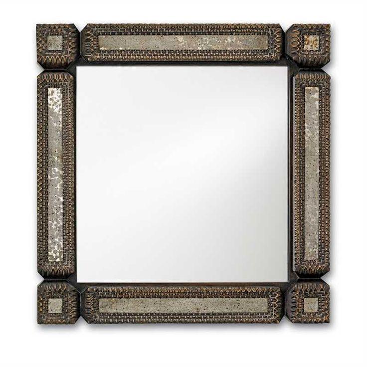 Currey and Company Tramp Art Square Mirror | Square | Mirrors | Candelabra, Inc.