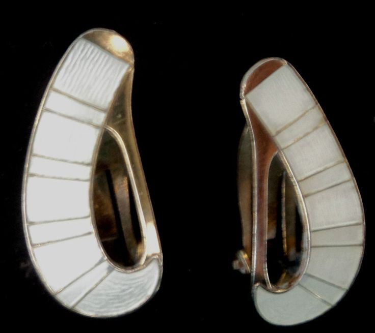 Norwegian Silver & White Enamel Abstract Earrings  -  Jacob Tostrup Norway