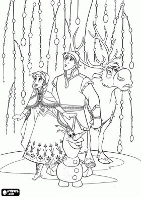 Anna, Kristoff, Sven and Olaf coloring page