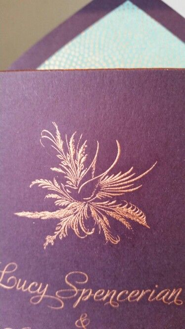 Engraved spencerian bird in copper ink on aubergine grosvenorstationerycompany.com
