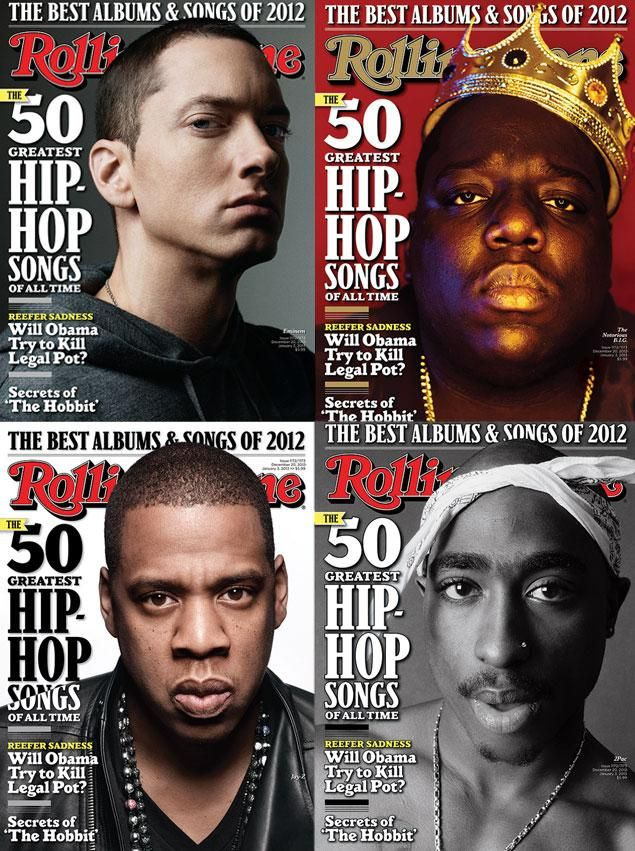 "Rolling Stone's ""50 Greatest Hip-Hop Songs of All Time"" includes songs by (from l.) Notorious B.I.G., Tupac Shakur, Jay-Z and Eminem.  http://www.nydailynews.com/entertainment/music-arts/rolling-stone-unveils-top-50-hip-hop-songs-time-article-1.1214199"