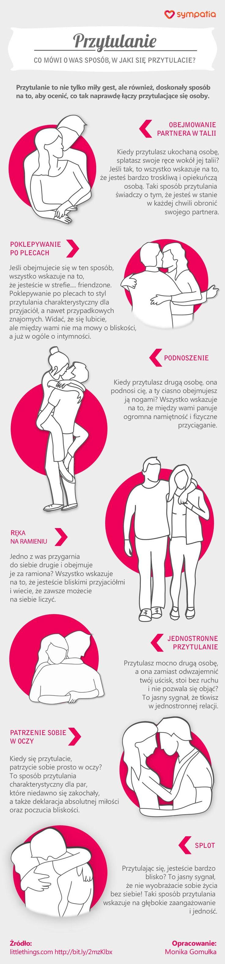 Infografika o tym, co sposób przytulania mówi o naszym związku. Infographic about hugging.
