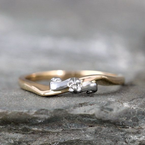 Vintage Wedding Band  14K Yellow and White Gold  by ASecondTime