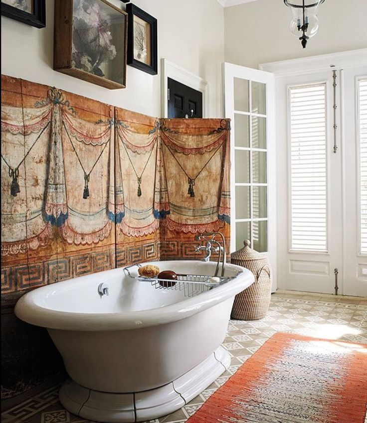majestic 1920s bathroom vanity. Artwork in the bathroom  In a guest bath at her majestic Punta Cana home an antique french painted canvas screen and coral branches set frames add 869 best Bathrooms images on Pinterest Bathroom ideas