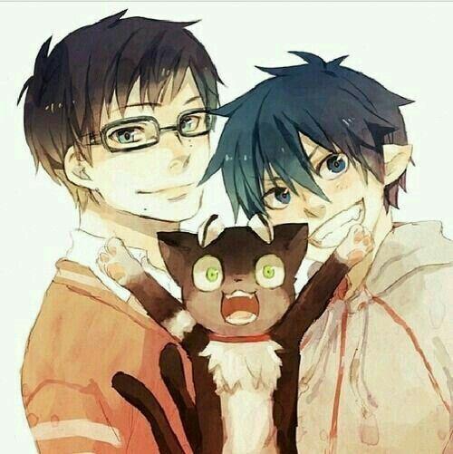 Rin, Yukio, Kuro, cute, smiling; Blue Exorcist