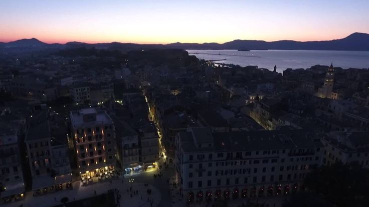 Corfu Town & old Fortress aerial view evening april 2016