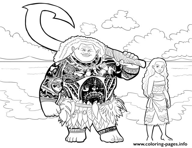 Moana And Maui Coloring Pages Printable Book To Print For Free Find More Online Kids Adults Of