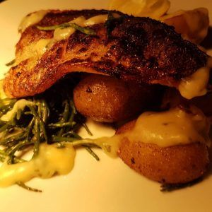Pan fried sea bream fillet sauted potatoes samphire chive veloutehellip