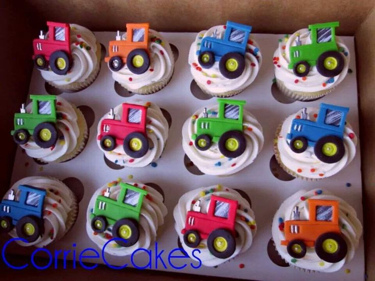 Tractor cupcakes by Corrie Cakes