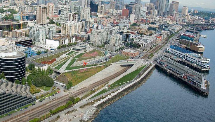 Parque Olímpico de Esculturas. Weiss / Manfredi Architects, Charles Anderson Arquitetura Paisagista. Seattle, Washington, EUA. 2002-2005 (projeto). 2005-2007 (construção).